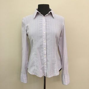 AMERICAN EAGLE Striped Long Sleeve Button Up Shirt